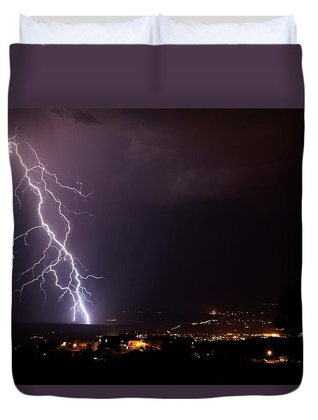 Duvet Cover featuring the photograph Monsoon Storm by Ron Chilston