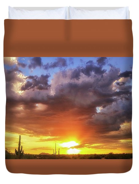 Duvet Cover featuring the photograph Monsoon Sunset by Anthony Citro