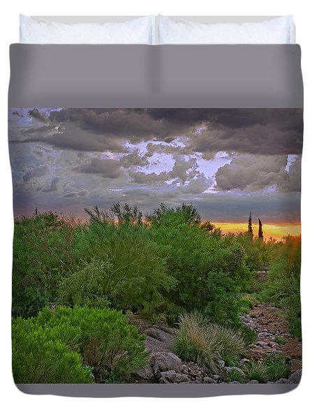 Duvet Cover featuring the photograph Monsoon Sunset H56 by Mark Myhaver