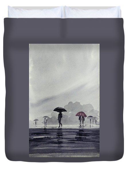 Duvet Cover featuring the painting Monsoons by Asha Sudhaker Shenoy