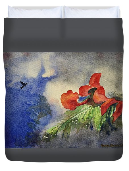Duvet Cover featuring the painting Monsoons  by Geeta Biswas