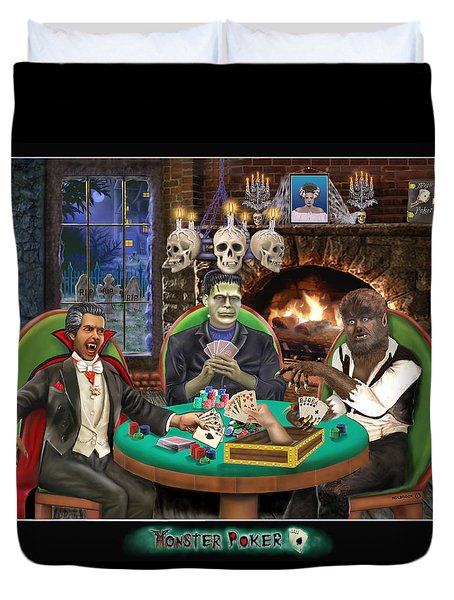 Monster Poker Duvet Cover by Glenn Holbrook