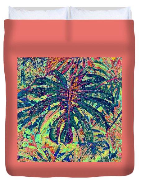 Monstera Leaf Patterns - Square Duvet Cover by Kerri Ligatich