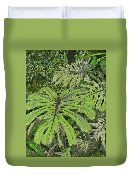 Monstera Leaves - Soft Greens Duvet Cover by Kerri Ligatich