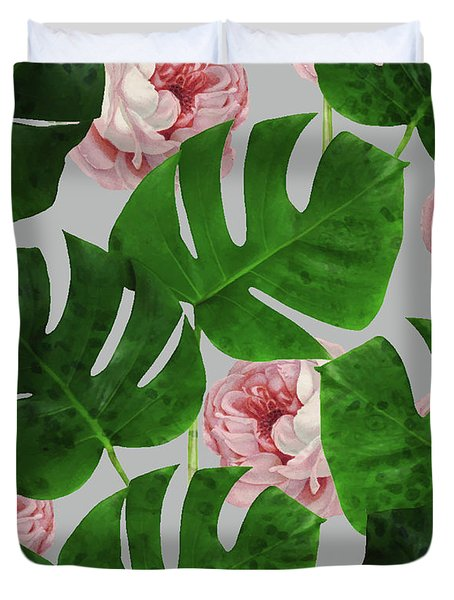 Monstera Rose Pattern Duvet Cover