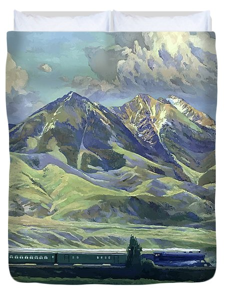 Montana, Railway, Mountains Duvet Cover