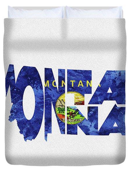 Montana Typographic Map Flag Duvet Cover