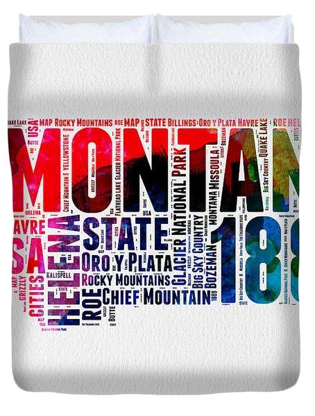 Montana Watercolor Word Cloud  Duvet Cover