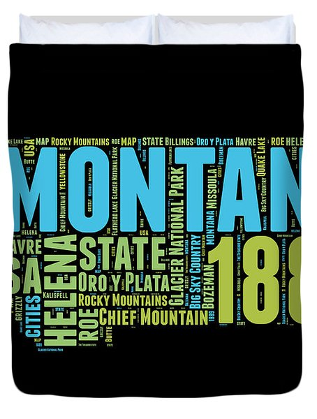 Montana Word Cloud 1 Duvet Cover