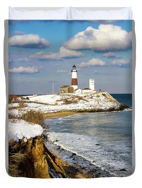 Montauk Lighthouse Winter Bluffs Duvet Cover