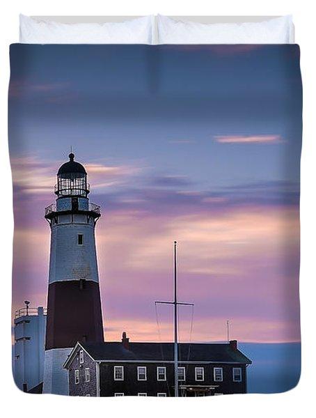 Montauk Lighthousepastel  Sunrise Duvet Cover