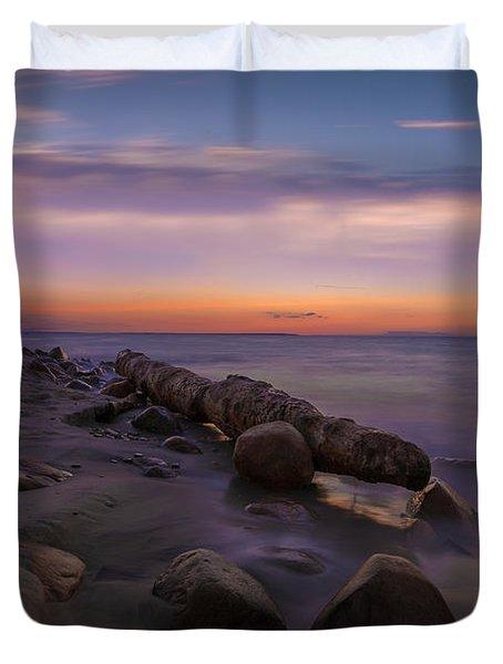 Montauk Sunset Boulders Duvet Cover
