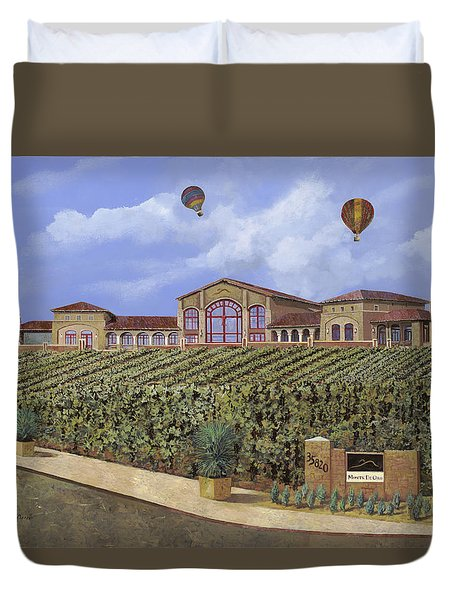 Monte De Oro And The Air Balloons Duvet Cover by Guido Borelli