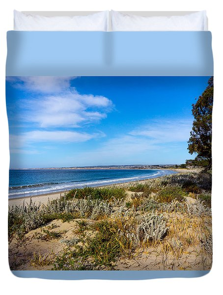 Monterey Beach And Flora Duvet Cover by Derek Dean