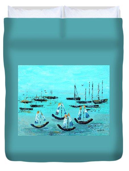 Monterey Boats Duvet Cover