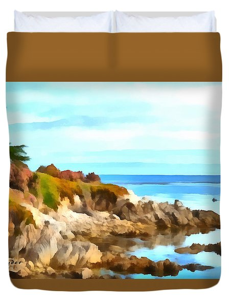 Duvet Cover featuring the photograph Monterey Coastline Watercolor by Floyd Snyder