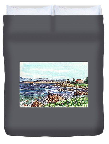 Monterey Pacific Ocean Shore  Duvet Cover