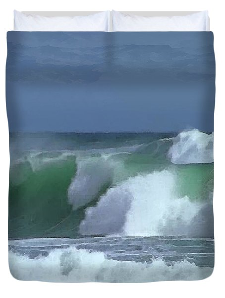 Duvet Cover featuring the digital art Monterey Surf by Walter Chamberlain