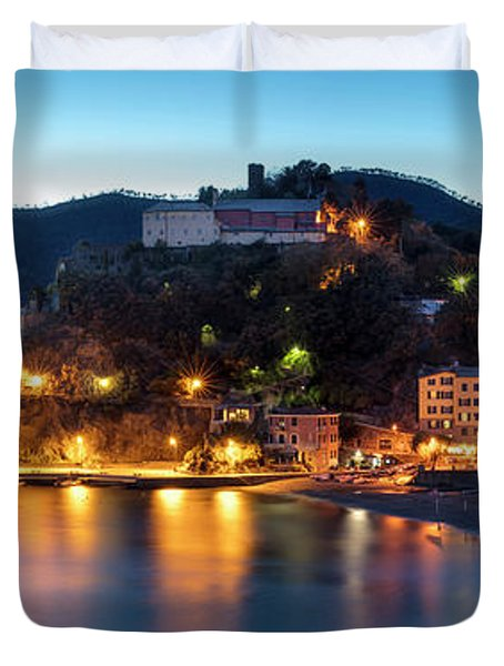 Duvet Cover featuring the photograph Monterosso Al Mare At Twilight by Brian Jannsen