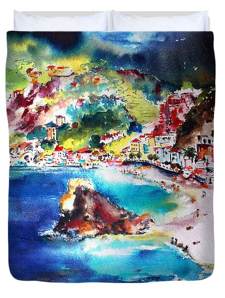 Duvet Cover featuring the painting Monterosso  Cinque Terre Italy  by Ginette Callaway