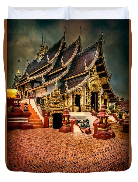Duvet Cover featuring the photograph Monthian Temple Chiang Mai  by Adrian Evans
