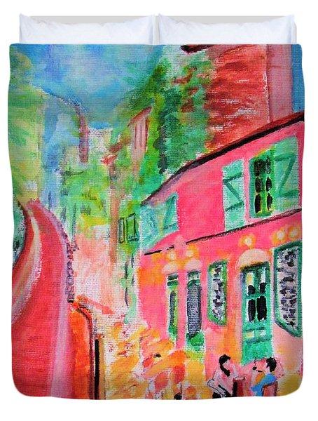 Montmartre Cafe In Paris Duvet Cover