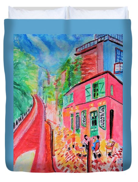 Montmartre Cafe In Paris Duvet Cover