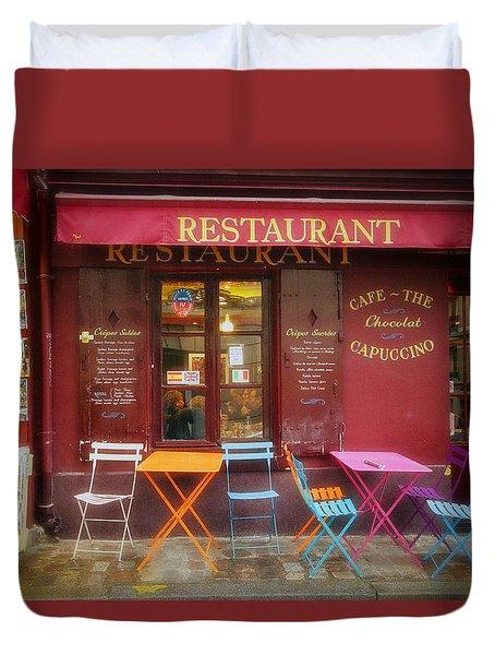 Montmartre Restaurant Duvet Cover