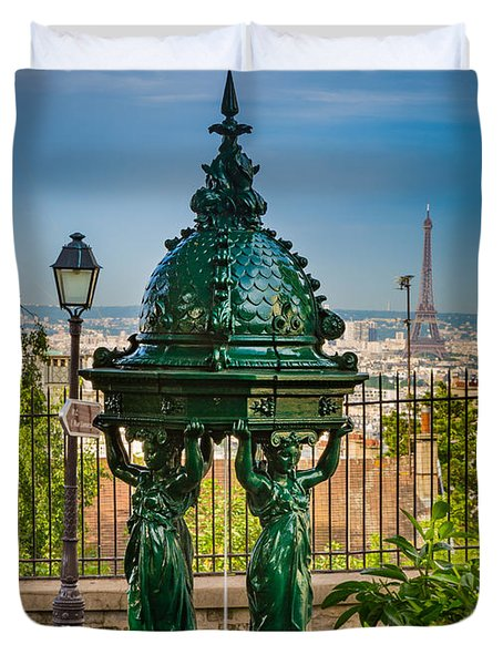 Montmartre Wallace Fountain Duvet Cover by Inge Johnsson