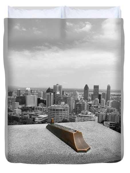 Montreal Cityscape Bw With Color Duvet Cover