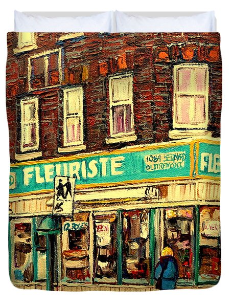 Montreal Cityscenes By Streetscene Artist Carole Spandau Duvet Cover by Carole Spandau