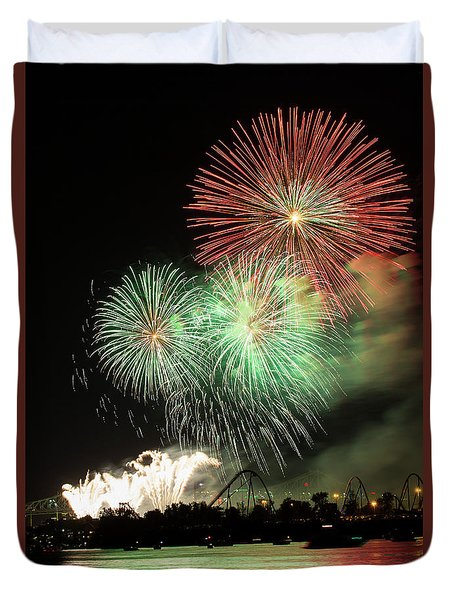 Montreal-fireworks Duvet Cover by Mircea Costina Photography