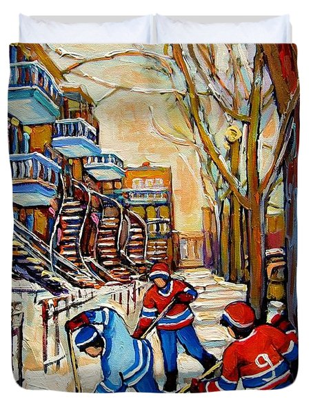 Montreal Hockey Game With 3 Boys Duvet Cover by Carole Spandau