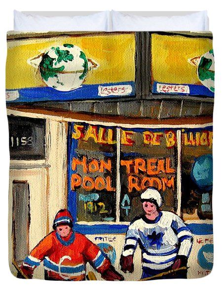 Montreal Poolroom Hockey Fans Duvet Cover by Carole Spandau