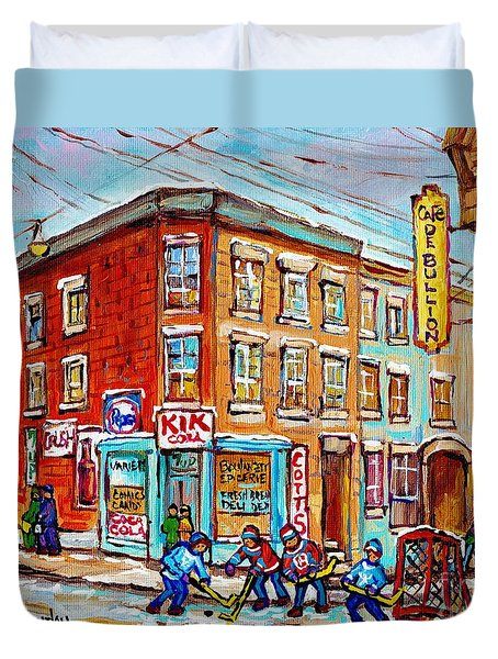 Montreal Storefront Paintings Debullion Street Hockey Art Quebec Winterscenes C Spandau Canadian Art Duvet Cover
