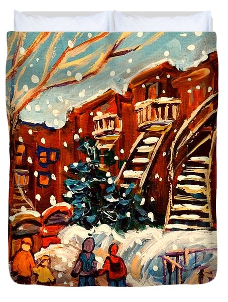 Montreal Street In Winter Duvet Cover