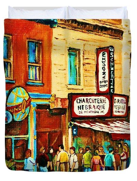 Montreal Streetscene Artist Carole Spandau Paints Schwartzs Main Street Hustle Bustle Duvet Cover by Carole Spandau