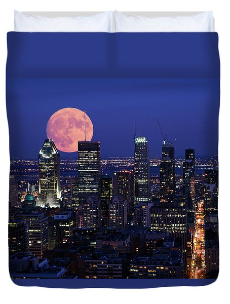 Duvet Cover featuring the photograph Montreal Supermoon by Mircea Costina Photography