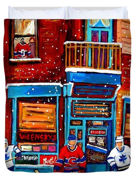 Montreal Wilensky Deli By Carole Spandau Montreal Streetscene And Hockey Artist Duvet Cover by Carole Spandau