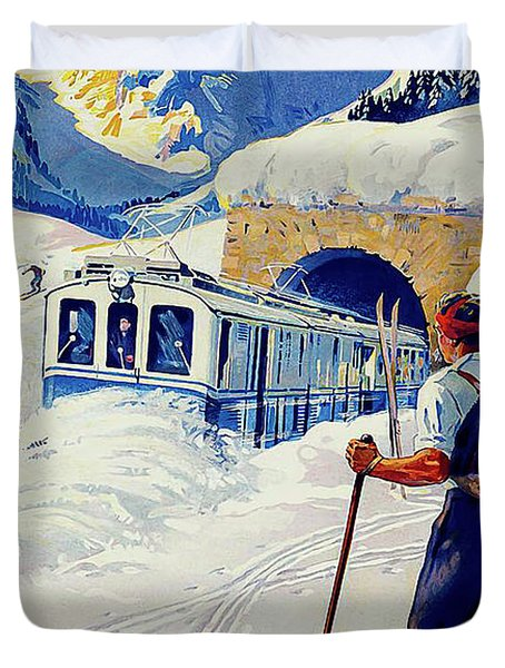 Montreux, Berner Oberland Railway, Switzerland, Winter, Ski, Sport Duvet Cover