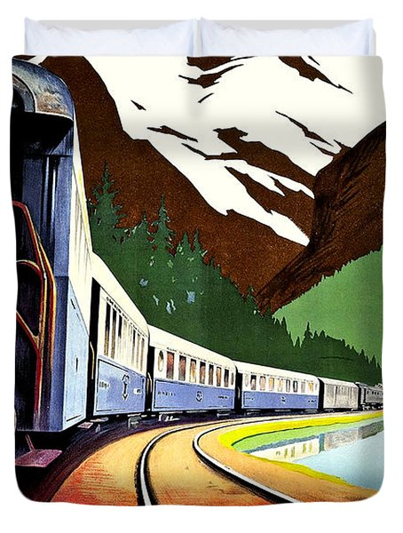 Montreux, Golden Mountain Railway, Switzerland Duvet Cover