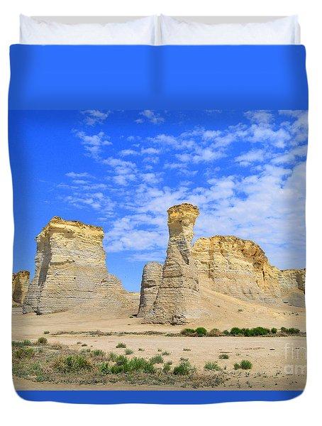Monument Rocks In Kansas 2 Duvet Cover