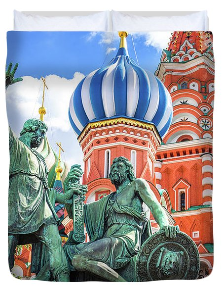 Monument To Minin And Pozharsky Duvet Cover