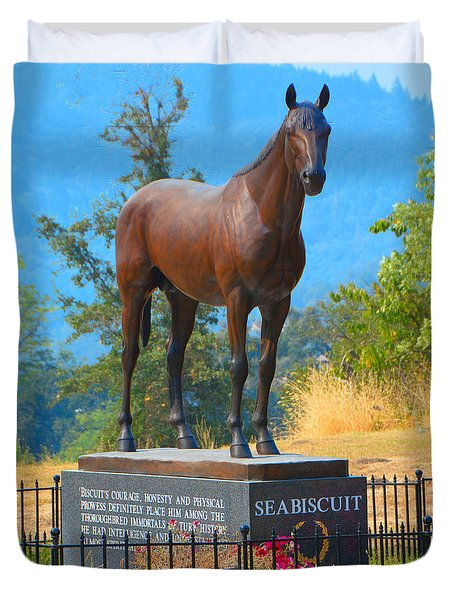 Monument To Seabiscuit Duvet Cover