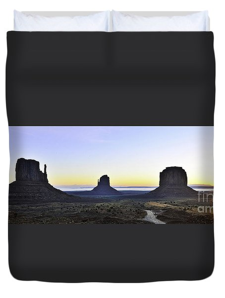 Monument Valley At Sunrise Panoramic Duvet Cover
