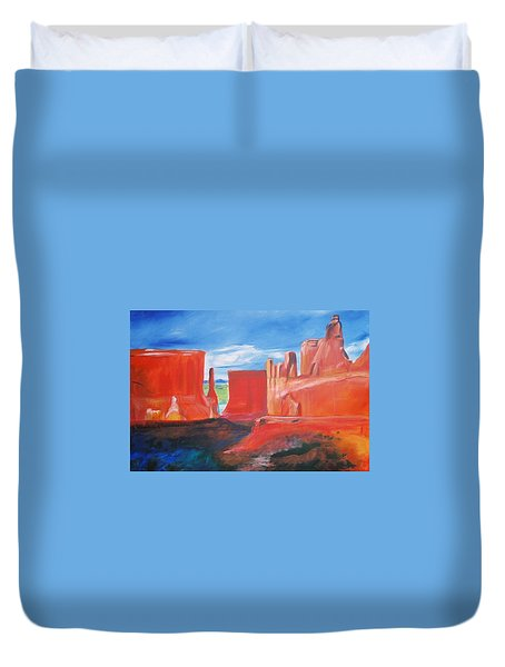 Duvet Cover featuring the painting Monument Valley  by Eric  Schiabor