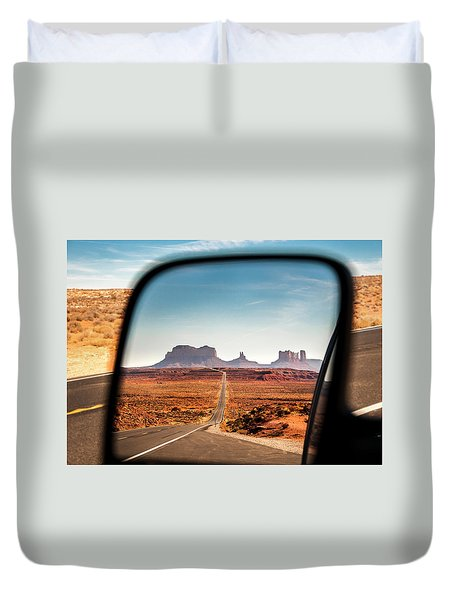 Monument Valley Rearview Mirror Duvet Cover