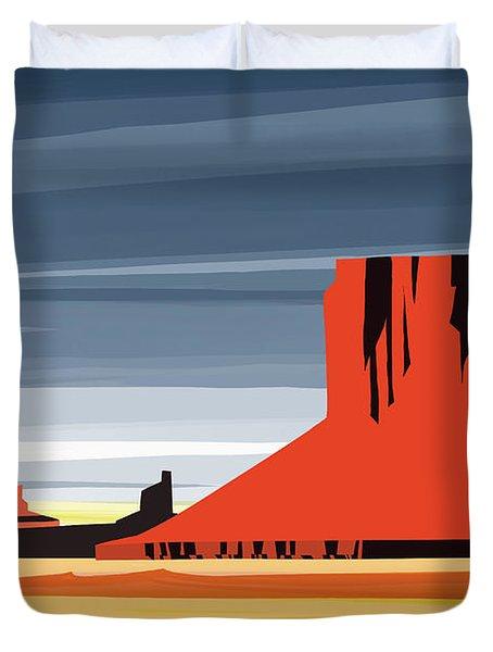 Monument Valley Sunset Digital Realism Duvet Cover