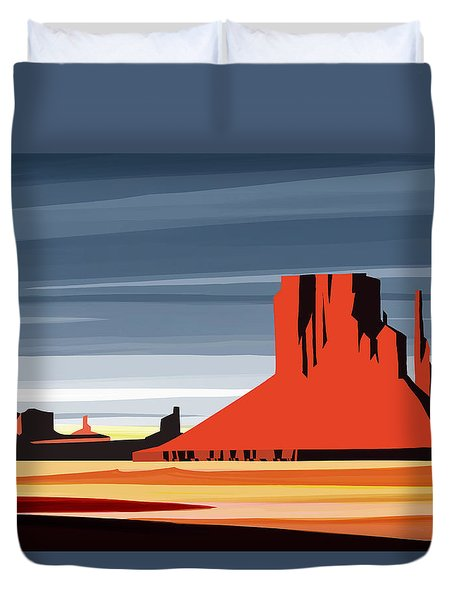 Monument Valley Sunset Digital Realism Duvet Cover by Sassan Filsoof