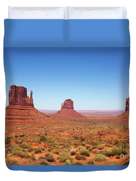 Duvet Cover featuring the photograph Monument Valley Utah The Mittens by Steven Frame